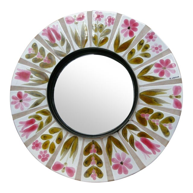 1960s Roger Capron Round Mirror For Sale