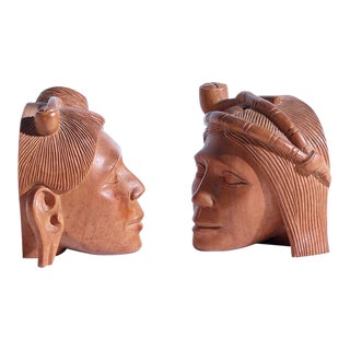 Vintage Carved Wood Tribal Bookends-a Pair For Sale