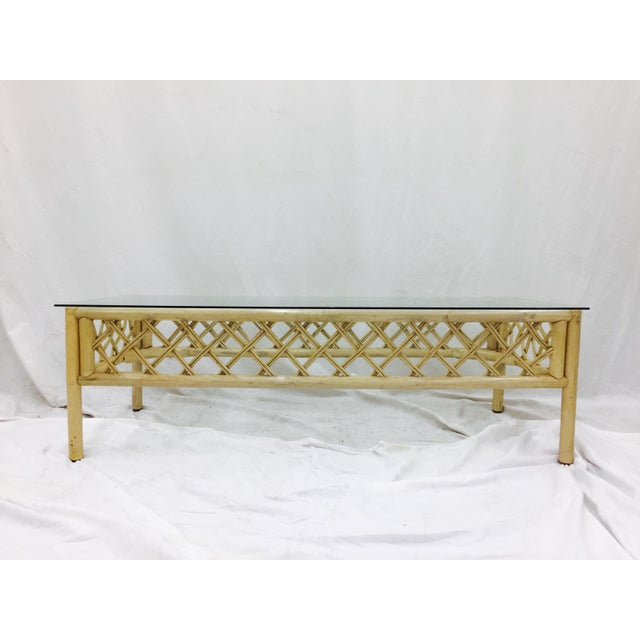Boho Chic Vintage Ficks Reed Rattan & Glass Coffee Table For Sale - Image 3 of 7
