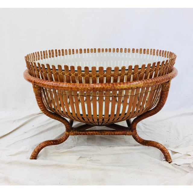 Bamboo Vintage Rattan & Glass Top Coffee Table For Sale - Image 7 of 12