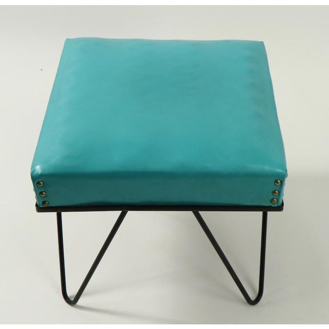 Frederick Weinberg Mid Century Hairpin Leg Stool Ottoman For Sale - Image 4 of 12