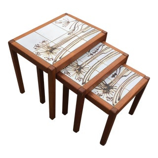 1960s Mid-Century Modern Mobelfabrikken Toften Tile Top Nesting Tables - Set of 3 For Sale