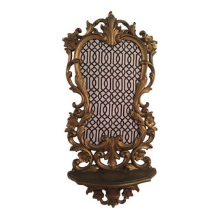 Geometric Meets Baroque Gold Wall Shelf For Sale