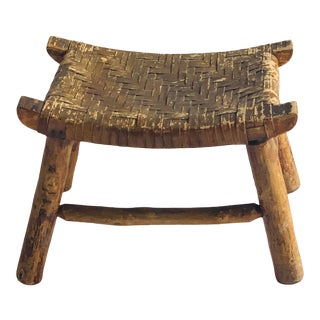 Early 19th C. Rush Seat Stool For Sale