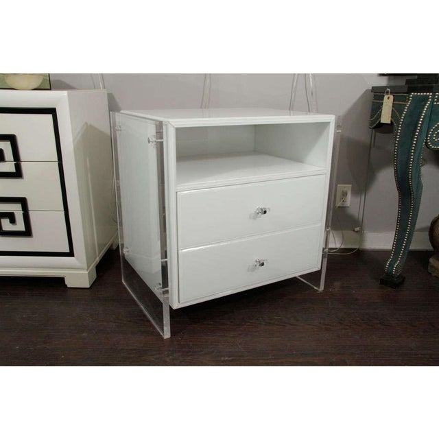 Glass Pair of White Reverse Painted Glass End Tables For Sale - Image 7 of 8