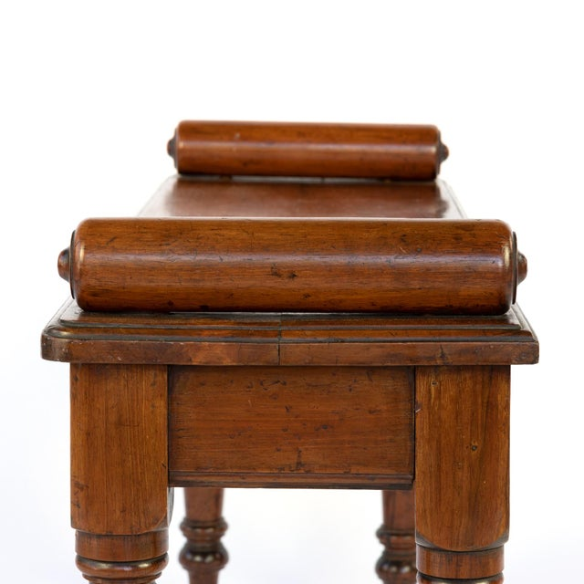 Victorian Mahogany Hall Bench With Carved Bolster Arm-Rests; English, Circa 1870 For Sale - Image 9 of 10