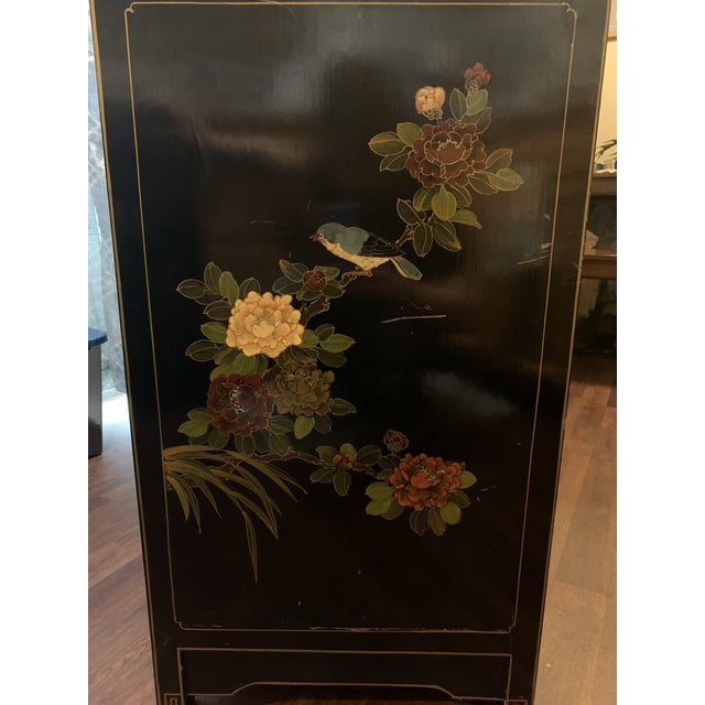 Mid 20th Century Mid 20th Century Asian (Chinoiserie) Black Lacquer Hand-Painted Buffet or Sideboard For Sale - Image 5 of 6