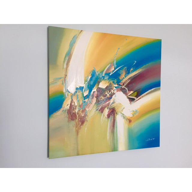 Yellow & Blue Modern Abstract Painting - Image 2 of 5