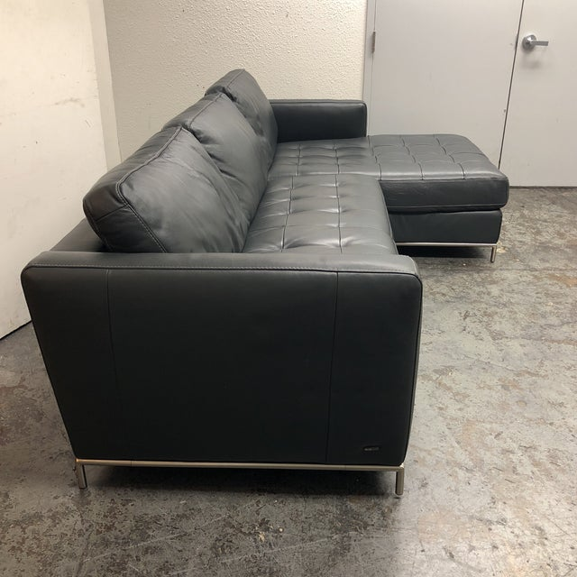 Natuzzi Silvio Pheonix Gray Leather Sectional For Sale - Image 5 of 10