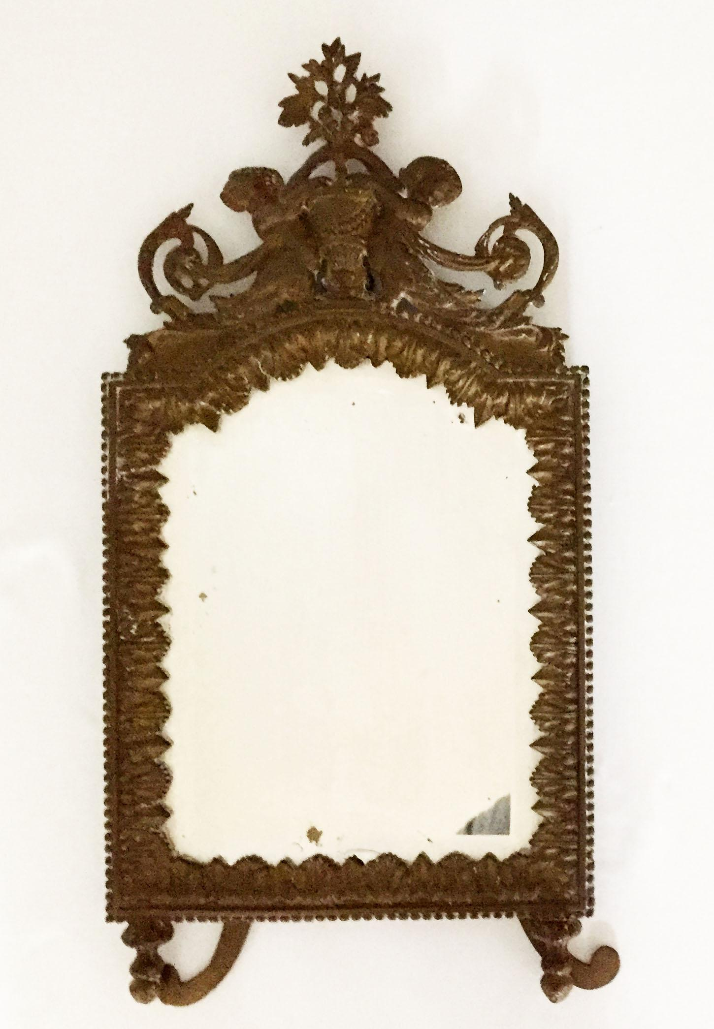 Antique Brass Cherub Table Top Easel Back Mirror   Image 5 Of 5