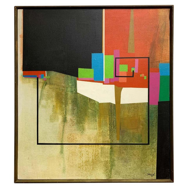 Modernist Geometric Painting, 1971 For Sale - Image 13 of 13