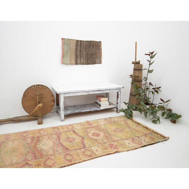 Faded Vintage Decorative Herki Runner For Sale In Los Angeles - Image 6 of 7