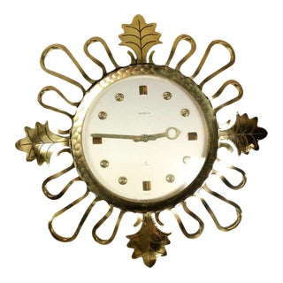 Mid-Century Modern Bronze Sunburst Clock For Sale