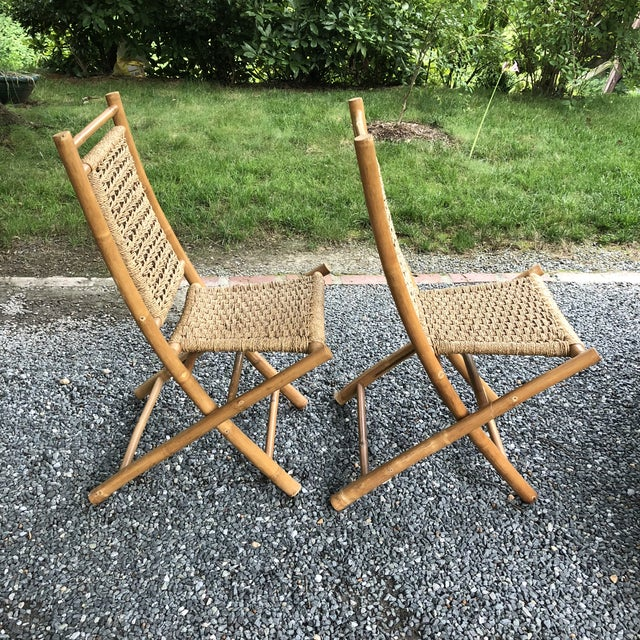 Asian Mid-Century Modern Hans Wagner Style Bamboo Rope Folding Lounge Chairs - a Pair For Sale - Image 3 of 13