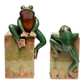 Mid Century Ceramic Crackle Glaze Sculptural Frog Bookends - Pair For Sale