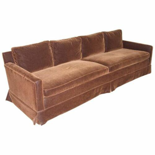Brown Vintage Newly Reupholstered Chocolate Brown Mohair Sofa For Sale - Image 8 of 8