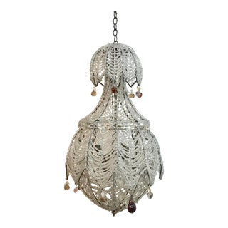 Beautiful Antique Beaded Chandelier For Sale