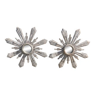 Distressed Carved Wood Starburst Mirrors - a Pair For Sale