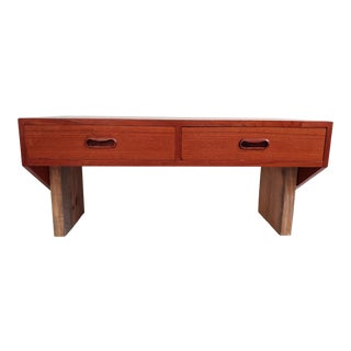 Hansen Guldborg Mid Century Modern Danish Teak Floating Desk For Sale