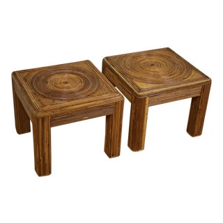 Bamboo Swirl End Tables - A Pair
