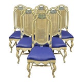 Image of Vintage French Hollywood Regency Style Cane Pretzel Back Dining Chairs- Set of 6 For Sale