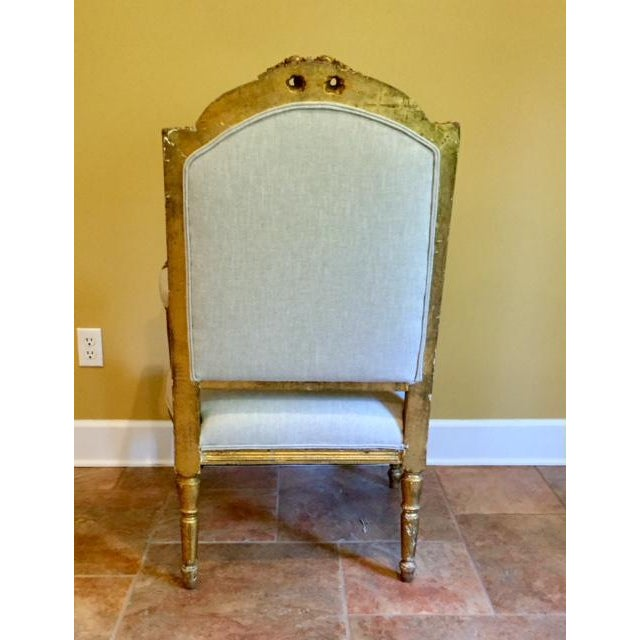 French 19th Century French Carved Gilt Arm Chairs - a Pair For Sale - Image 3 of 13