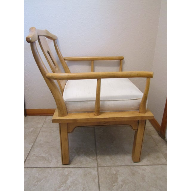 Vintage Chinese Chippendale Style Chinoiserie Blonde Wood Chair - Image 3 of 11