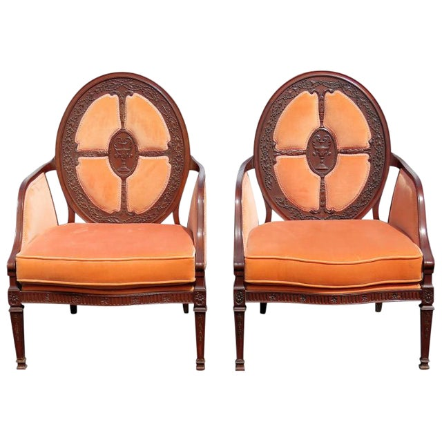 Carved Walnut Upholstered Armchairs - A Pair For Sale