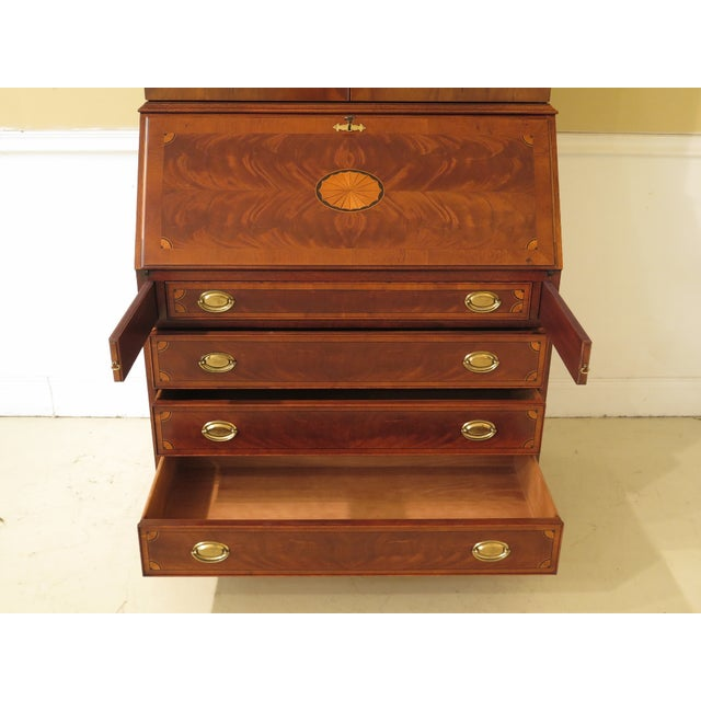 1990s 1990s Vintage Hekman Inlaid Mahogany & Yew Wood Secretary Desk For Sale - Image 5 of 13