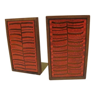 Danish Modern Rosewood and Enameled Copper Bookends - a Pair For Sale