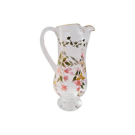 Vintage Hand Painted Floral Glass Pitcher - Image 3 of 5