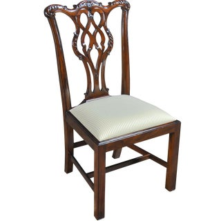 Straight Leg Chippendale Side Chair For Sale