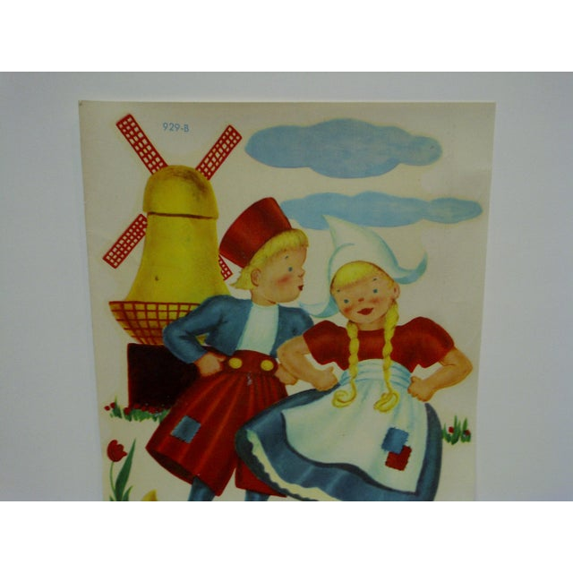 """American 1930s Vintage Decal / Wall Decoration """"Dutch Children"""" the Meyercord Co. Chicago For Sale - Image 3 of 6"""
