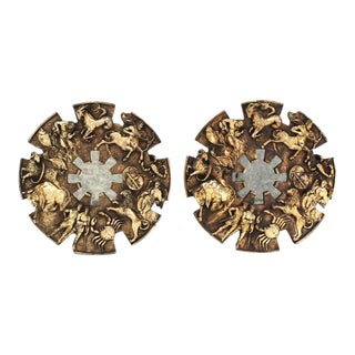Pair of Large Zodiac Mirrors For Sale