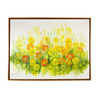 Vintage Oversized Mid-Century Floral Painting For Sale