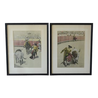 Vintage Mid-Century Matador Drawings - A Pair For Sale