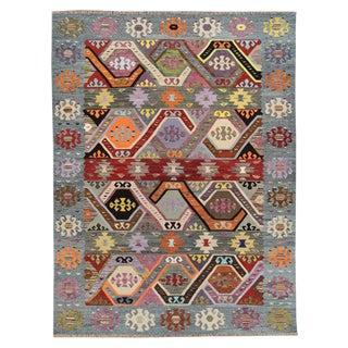 21st Century Modern Multicolored Turkish Flatweave Rug For Sale