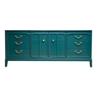 1960s Hollywood Regency Drexel Teal Jewel Tone Buffet