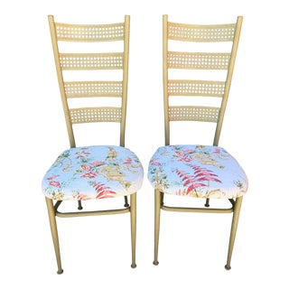 Asian Style Gold Frame Dining Chairs - a Pair