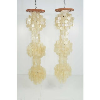 """Very Large Verner Panton Capiz Shell Chandeliers - 65"""" Tall - a Pair Preview"""