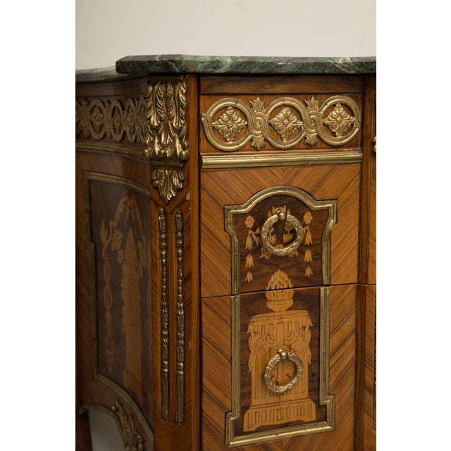 Marble Louis XVI Transitional Style Inlaid Commode For Sale - Image 7 of 9
