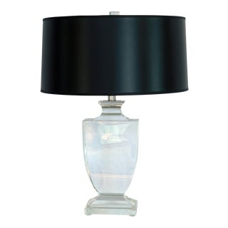 1950s Contemporary Crystal Lamp W/ Black Shade For Sale
