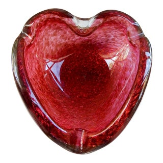 Pink & Gold Sparkles Heart Shaped Murano Glass Bowl For Sale