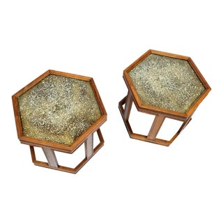John Keal for Brown Saltman Hexagonal Walnut Enamel Side Tables For Sale