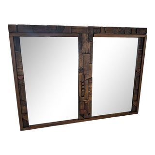 1970s Mid Century Modern Lane Brutalist Mirror For Sale