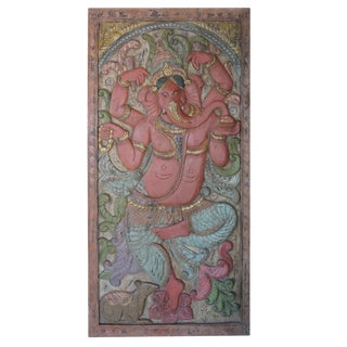 Vintage Indian Carved Ganesha Removes Obstacles Barn Door Wall Sculpture