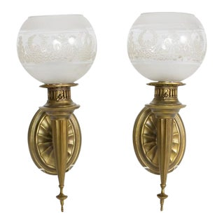 Federal Sconces With Original Round Glass Shades - a Pair For Sale