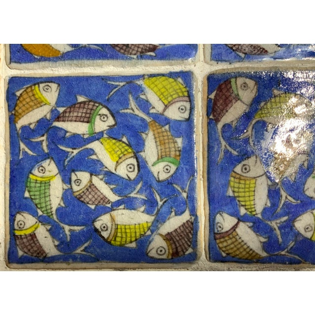 Contemporary Vintage Persian Tile Side Table For Sale - Image 3 of 13