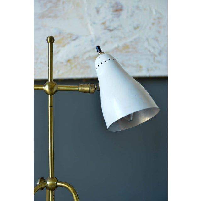 1960s Vintage White and Brass Italian Two-Arm Table Lamp, Circa 1960 For Sale - Image 5 of 9