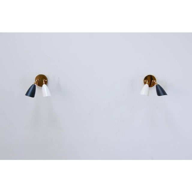 Mid-Century Modern 1950s Double Shaded Spot Light Sconces For Sale - Image 3 of 10